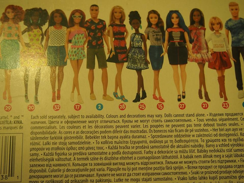 A few of the recently released Barbies shown on the back of the box. Credit: Katherine Morehouse