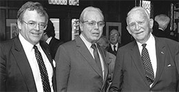 From left to right: Noël Kinsella (Director, AHRC), UN Secretary-General Javier Perez de Cuellar, and John Humphrey