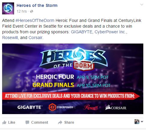 A Heroes of the Dorm ad. Sponsors galore, and the chance to win prizes - Submitted